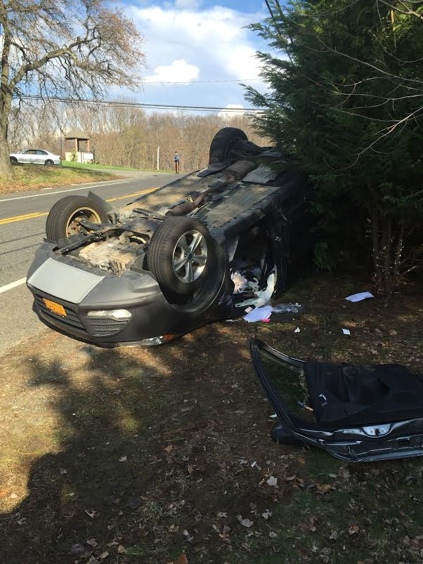 Overturned vehicle with entrapment